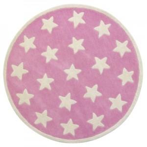 Star tæppe, rosa ø120 cm.